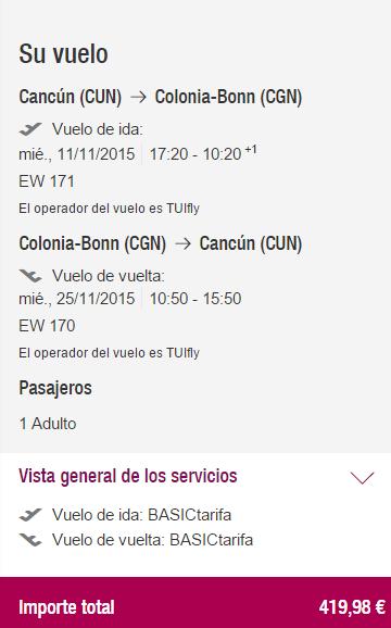 Alemania desde Cancún rendondo €420 para Noviembre