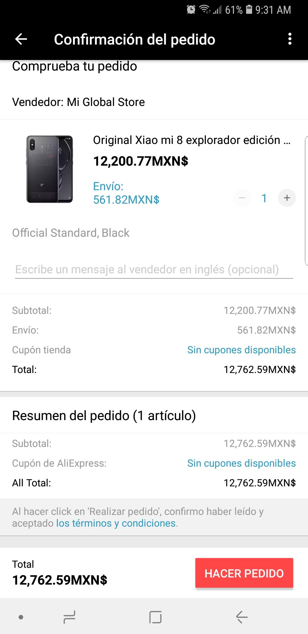 Aliexpress: XIAOMI MI 8 EXPLORER EDITION 128GB (Precio desde la app)