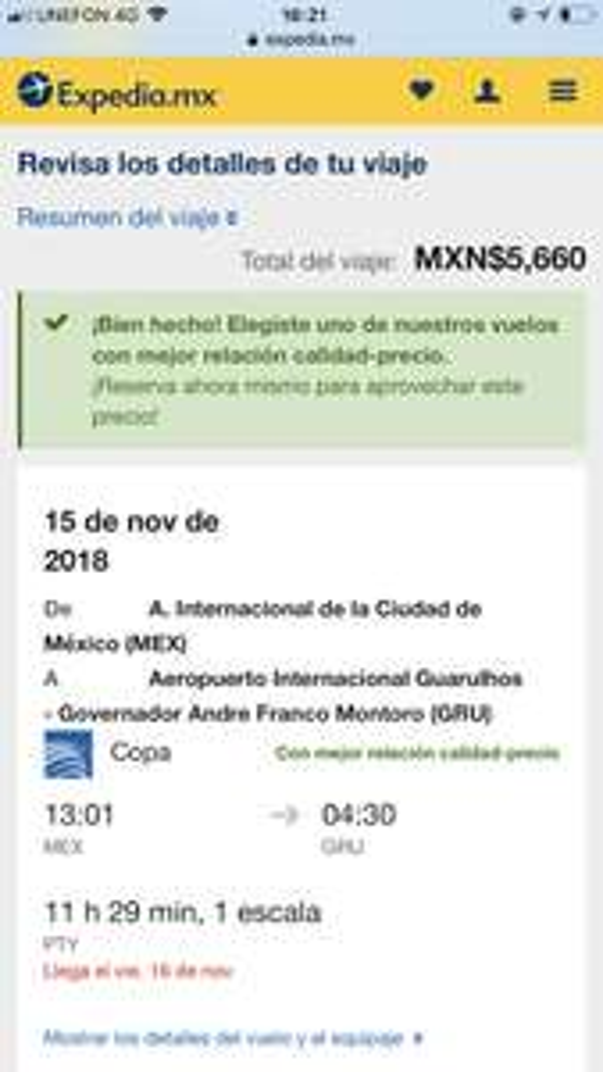 Vuelo redondo de CDMX a São Paulo (15-22 de Noviembre)