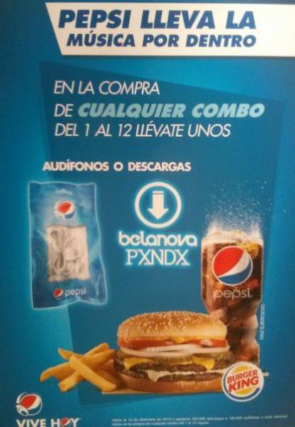 Burger King y Pepsi: audífonos o canciones gratis