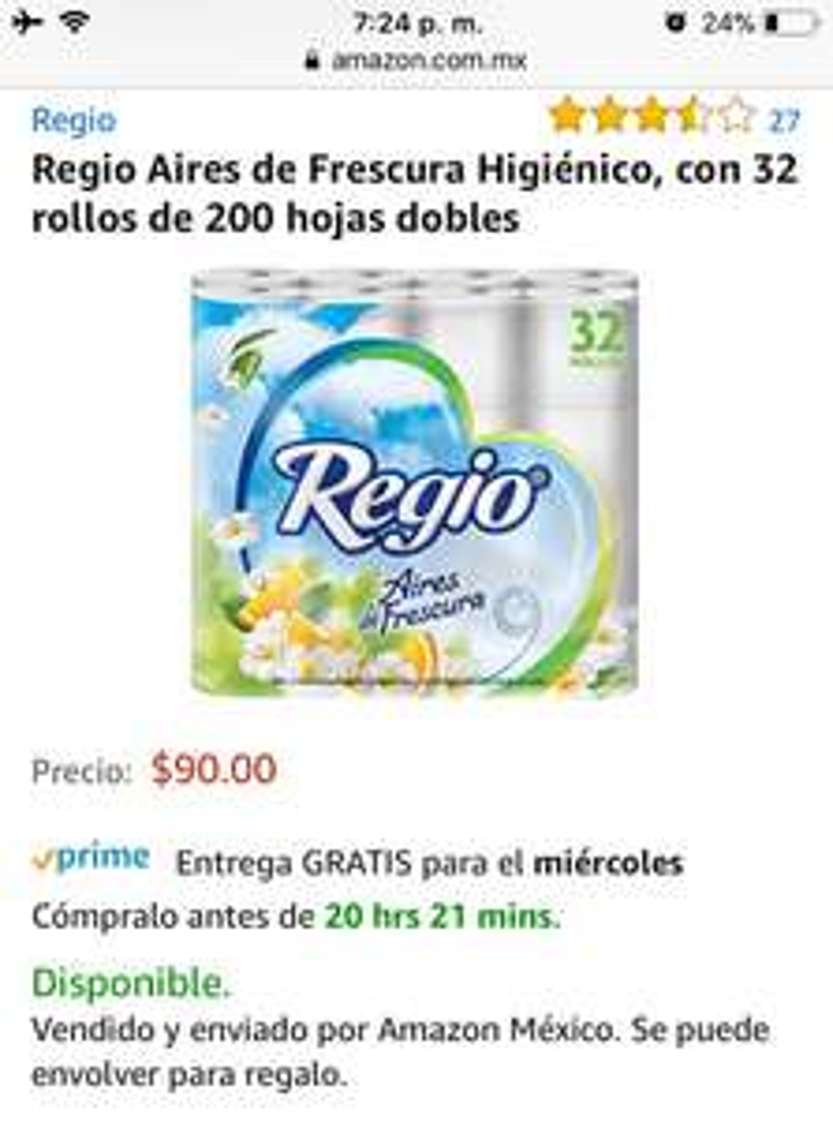 Amazon: papel higienico regio 32 piezas