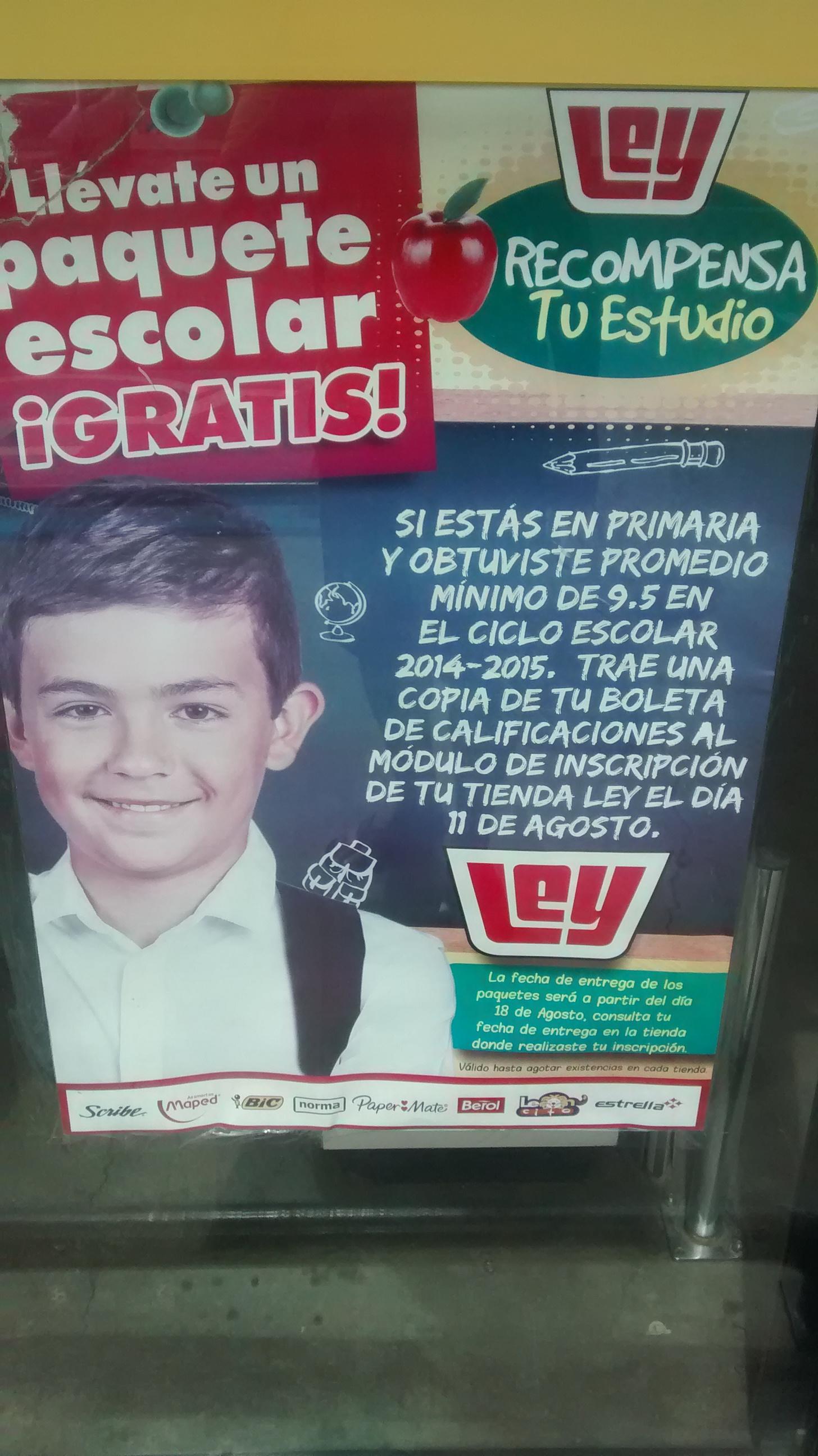 Casa Ley Supermercados (noroeste de México): Paquete escolar gratis con calificaciones de 9.5