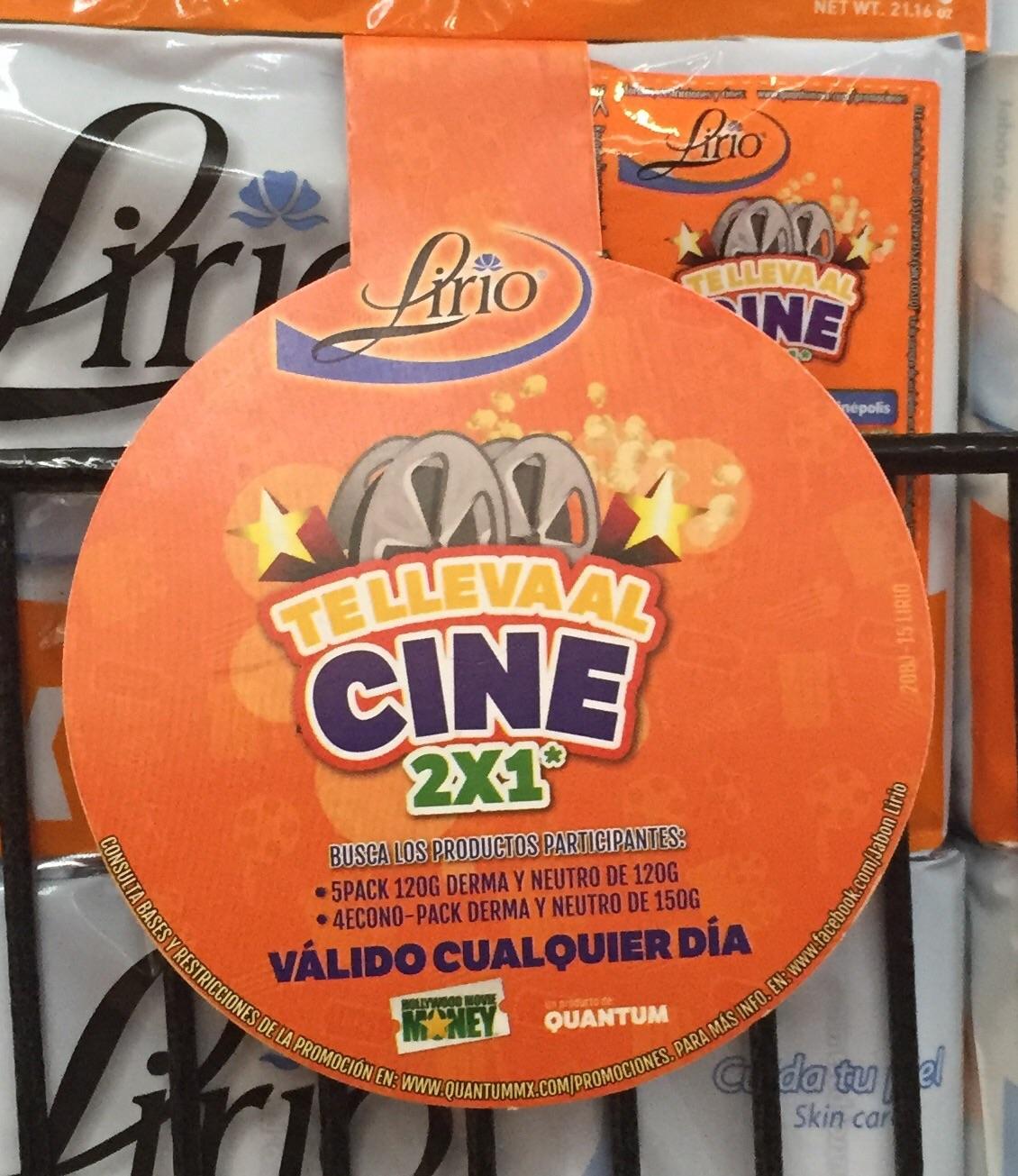 Cupón 2x1 en Cinépolis comprando jabones Lirio