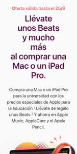 Apple: Beats gratis en la compra de Mac o iPad Pro