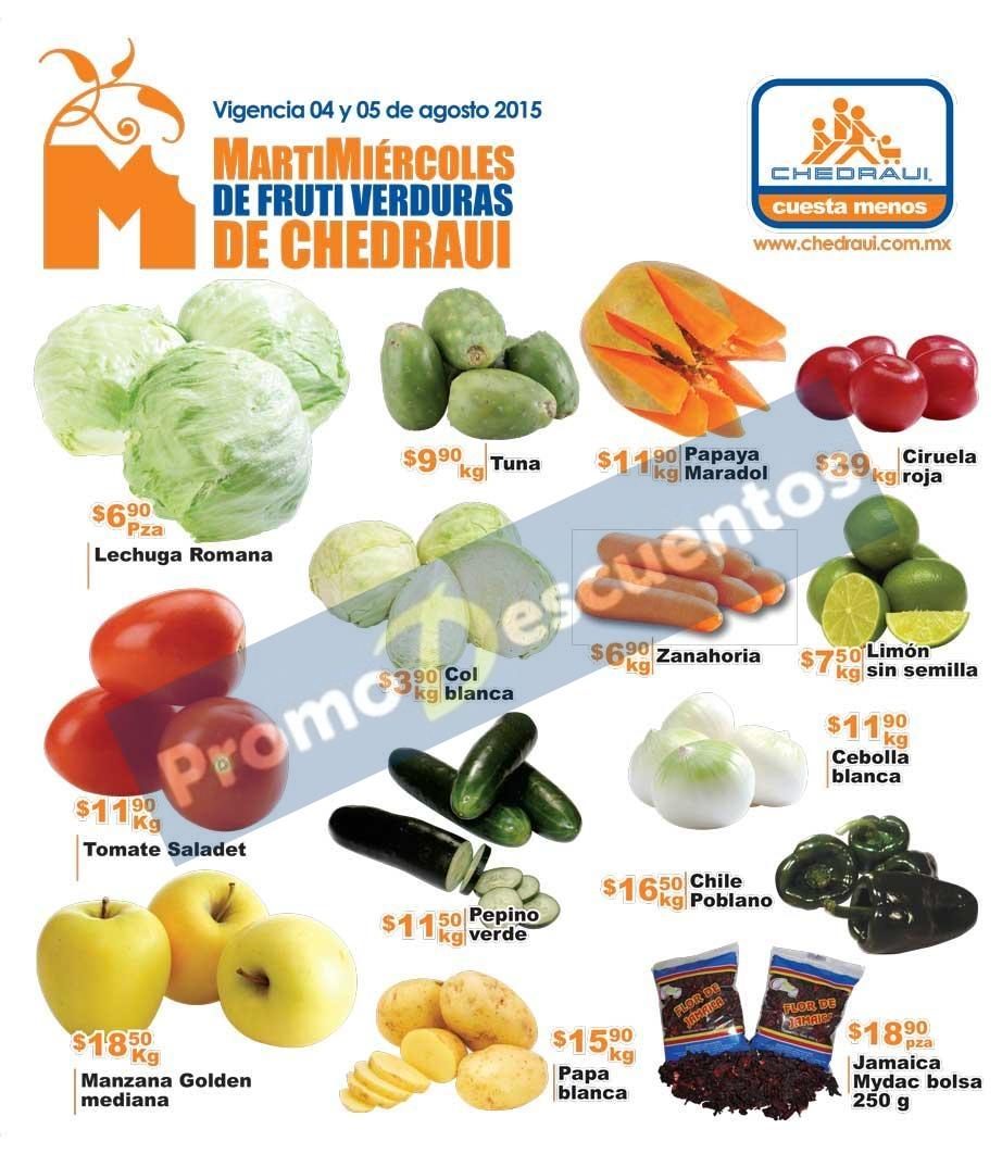 Ofertas de frutas y verduras en Chedraui 4 y 5 de agosto