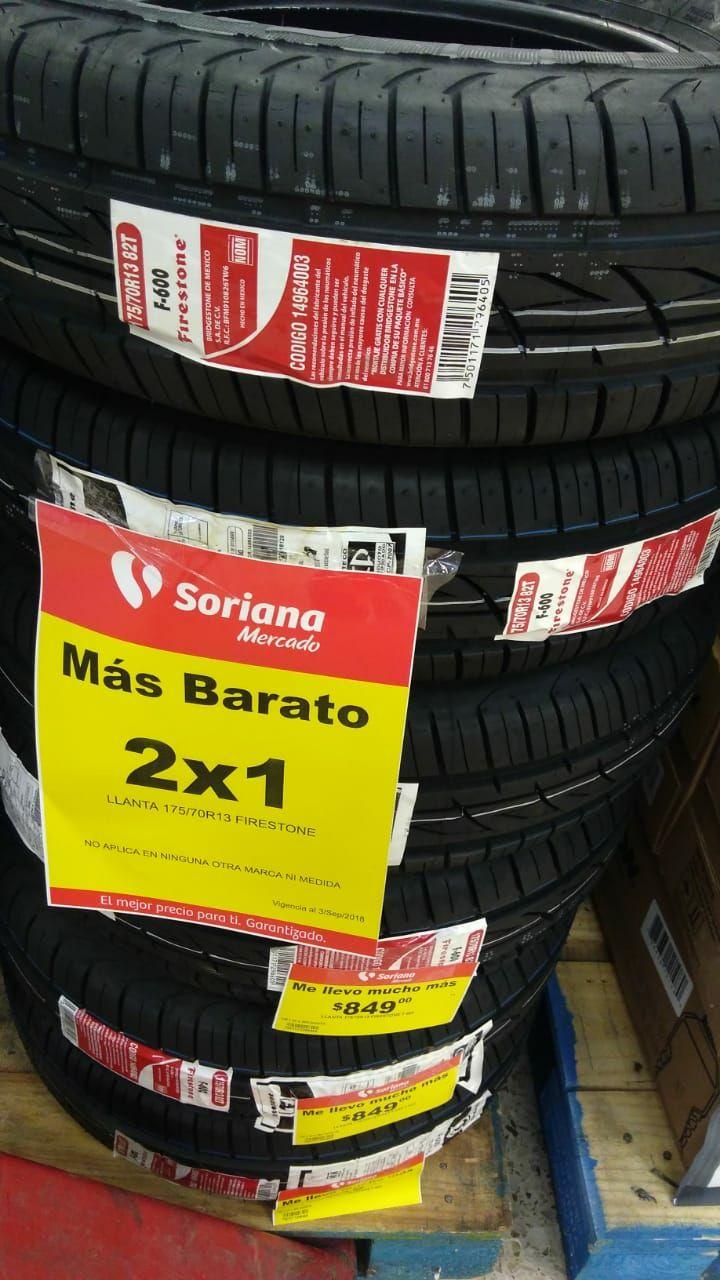 Soriana Mercado: 2x1 en Llantas Firestone y Aceite Akron