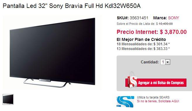 """Sears: Sony LED Smart TV 32"""" $3,870 y de 42"""" $5,460 + envío"""