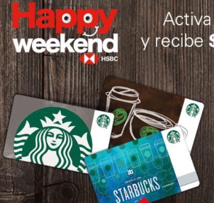 Starbucks:   $200 adicionales al recargar $200 (30 AGO-2 SEP) con HSBC VISA