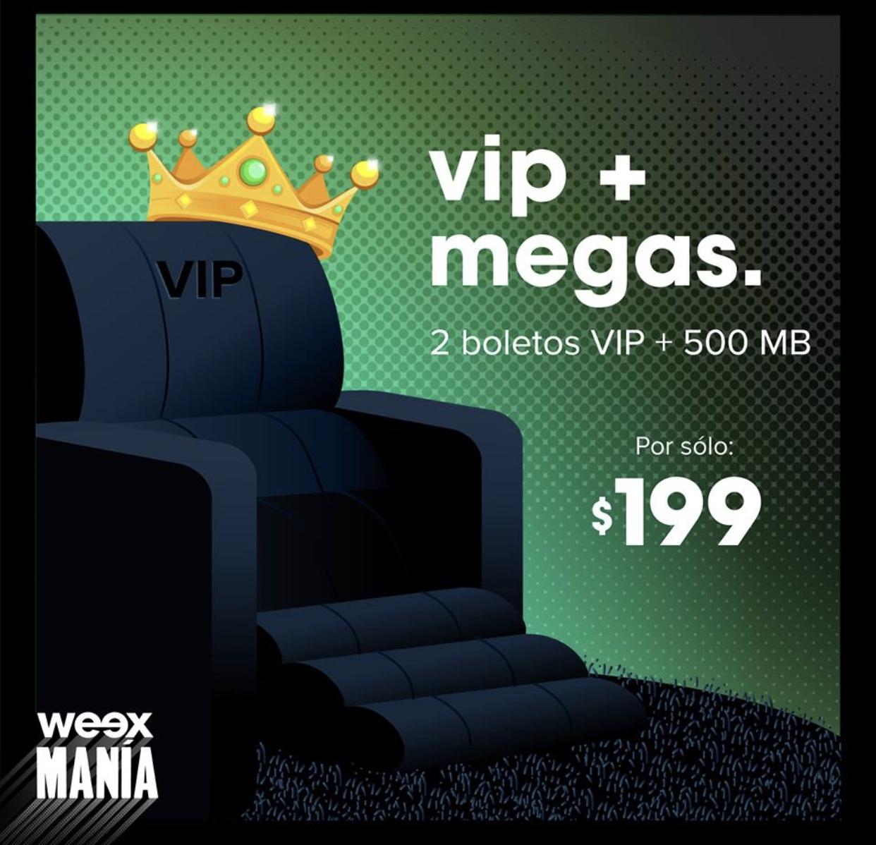 Weex: 500mb más dos entradas Cinépolis VIP
