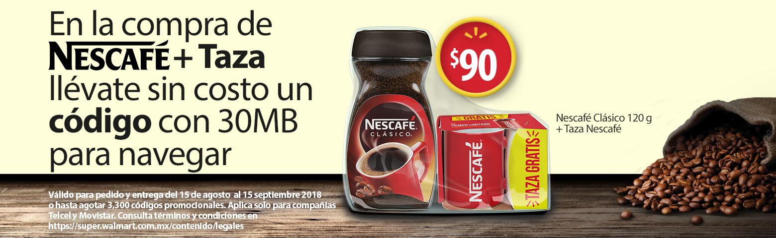 Walmart super: Café soluble nescafé clásico 225 g + taza GRATIS con valor de 90$+ código de 30MB para navegar (Solo Telcel y Movistar)