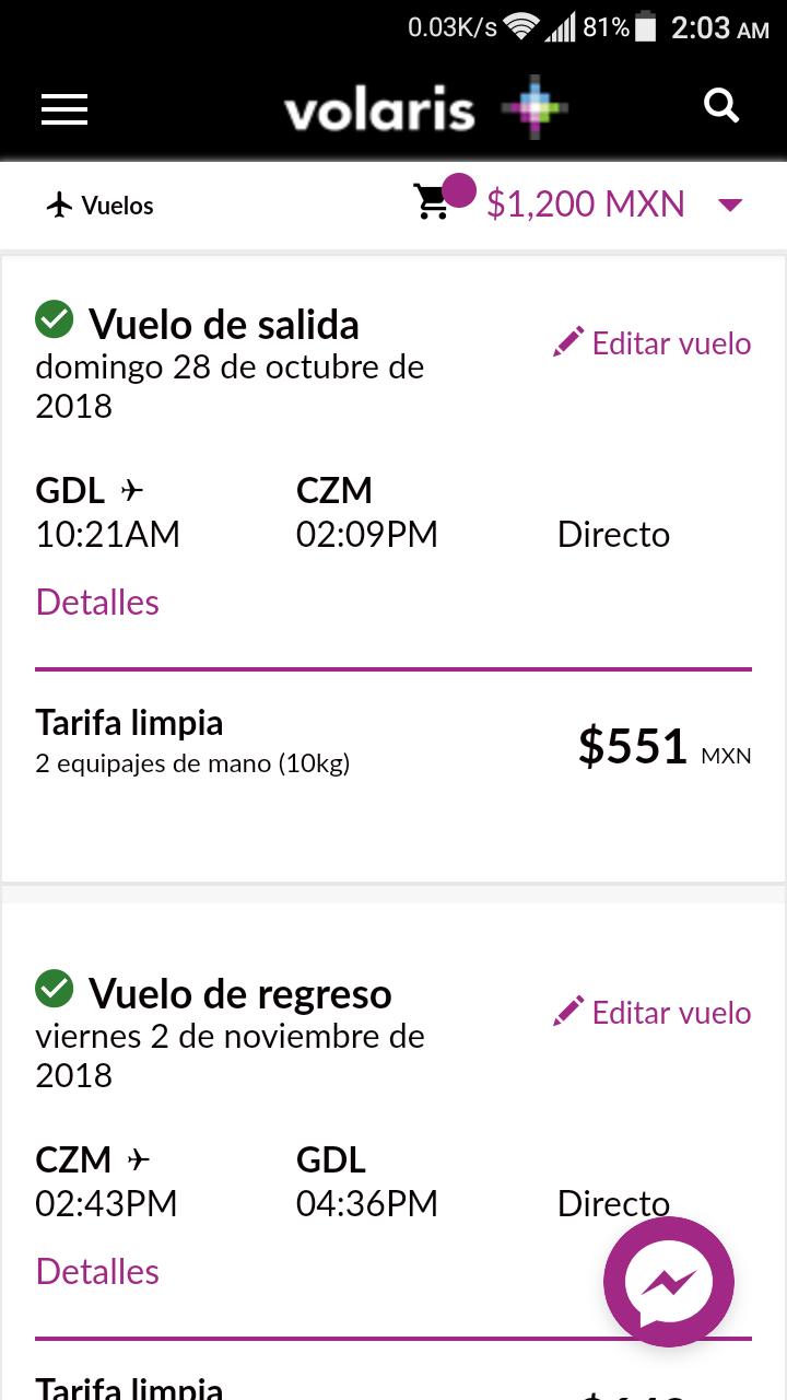 Volaris: Vuelo redondo Guadalajara - Cozumel directo (28 de Octubre - 2 de Noviembre)