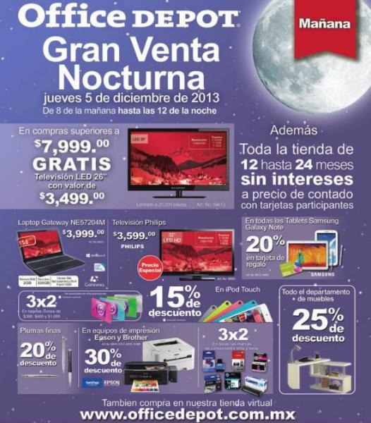 Venta Nocturna Office Depot diciembre 5 (actualizado ofertas completas)