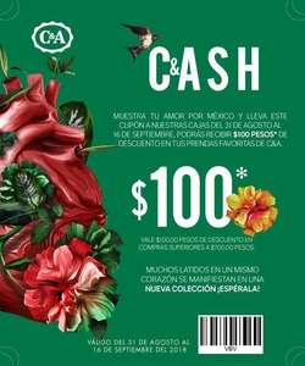 C&A:  C&A Cash  $100 de descuento en compras de $700 (Tienda fisica) al presentar imagen con cupón