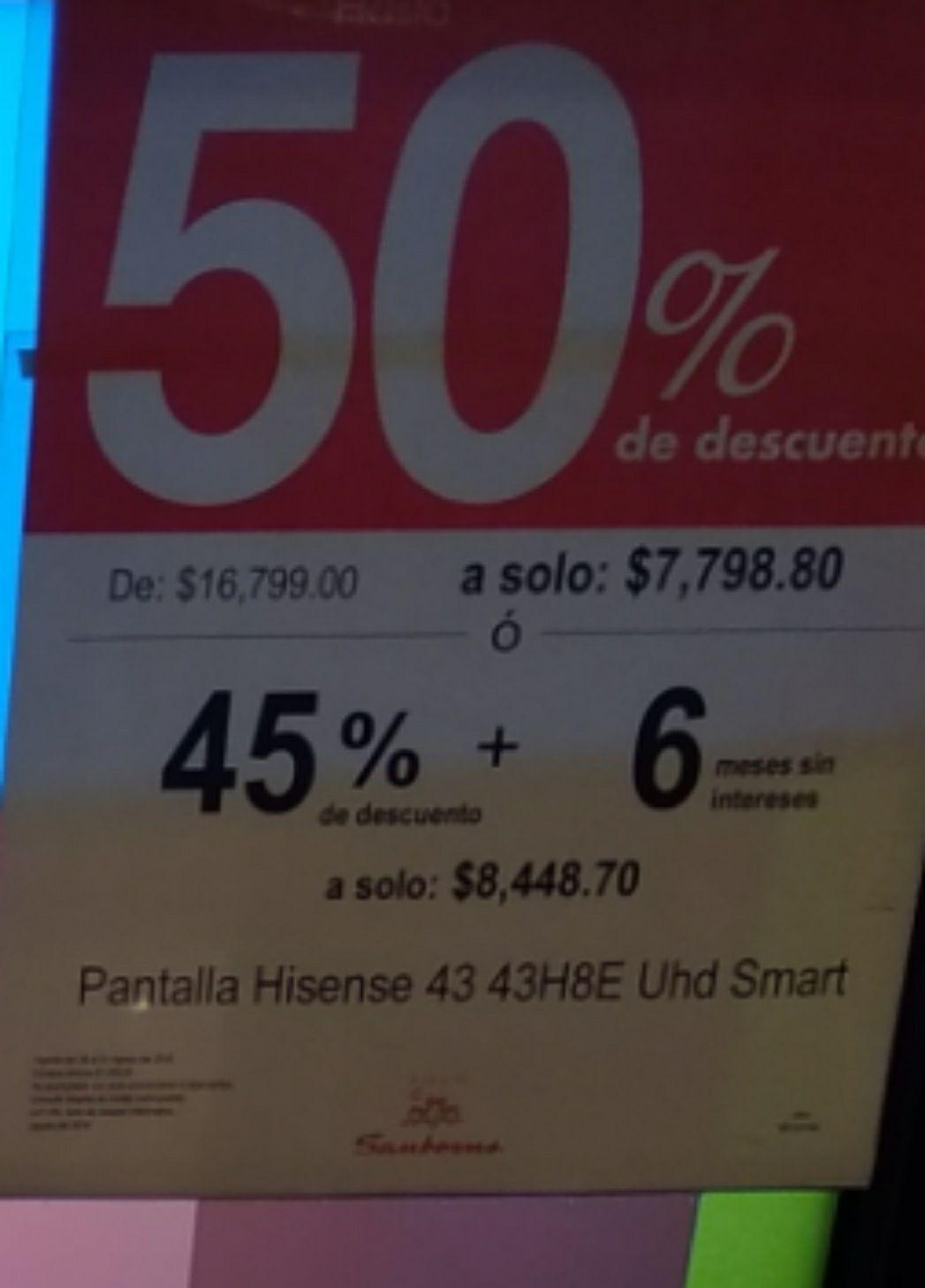 """Sanborns: Smart TV 4K Hisense 43"""""""