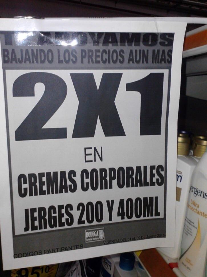Bodega Comercial Mexicana: 2x1 en cremas corporales Jeres y agua Bonafon de 1.2L a $7.10