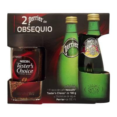 Superama: (tienda y online) Taster's Choice de Nescafe (solo para gustos exigentes) con 2 botellas perrier de regalo