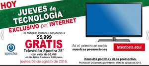 "Office Depot: Tv Spectra 28"" en copras mayores a $6,000"