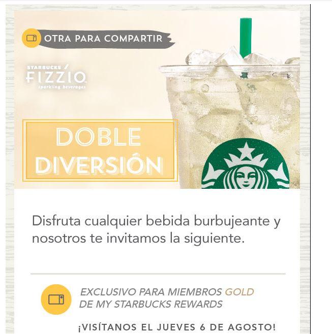 Starbucks Rewards: 2x1 bebidas Fizzio  sólo hoy jueves