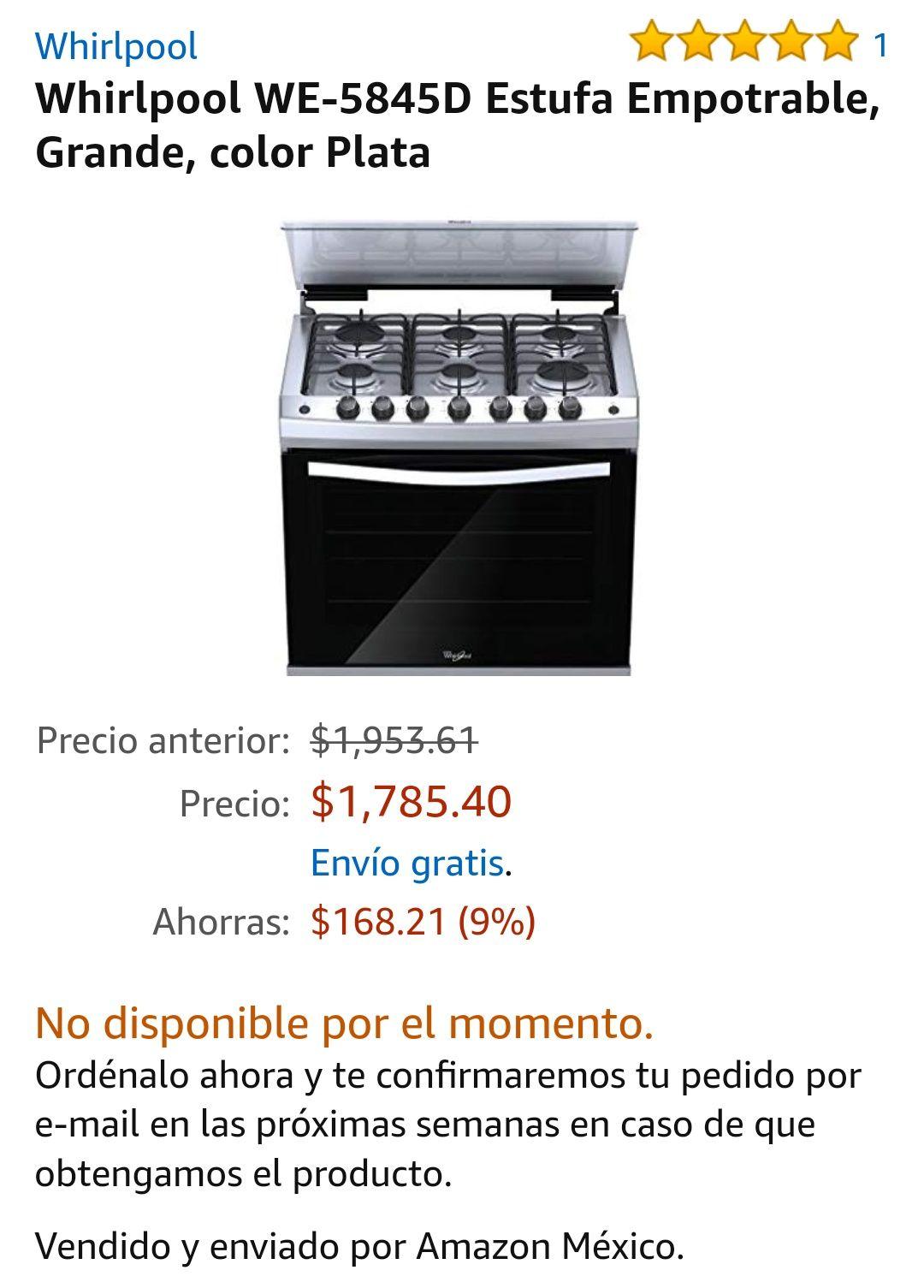 Amazon: UNICORNIO Estufa Whirlpool (en caso de que les lleguen)