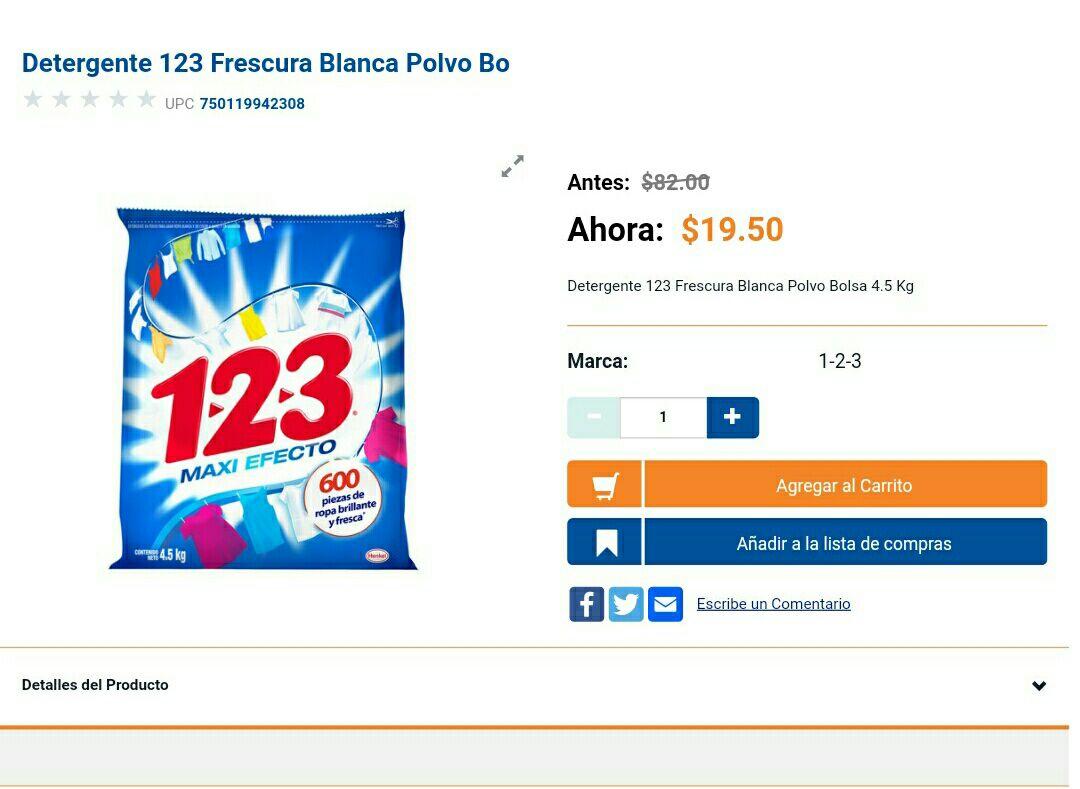 Chedraui online: detergente 123 4.5kg