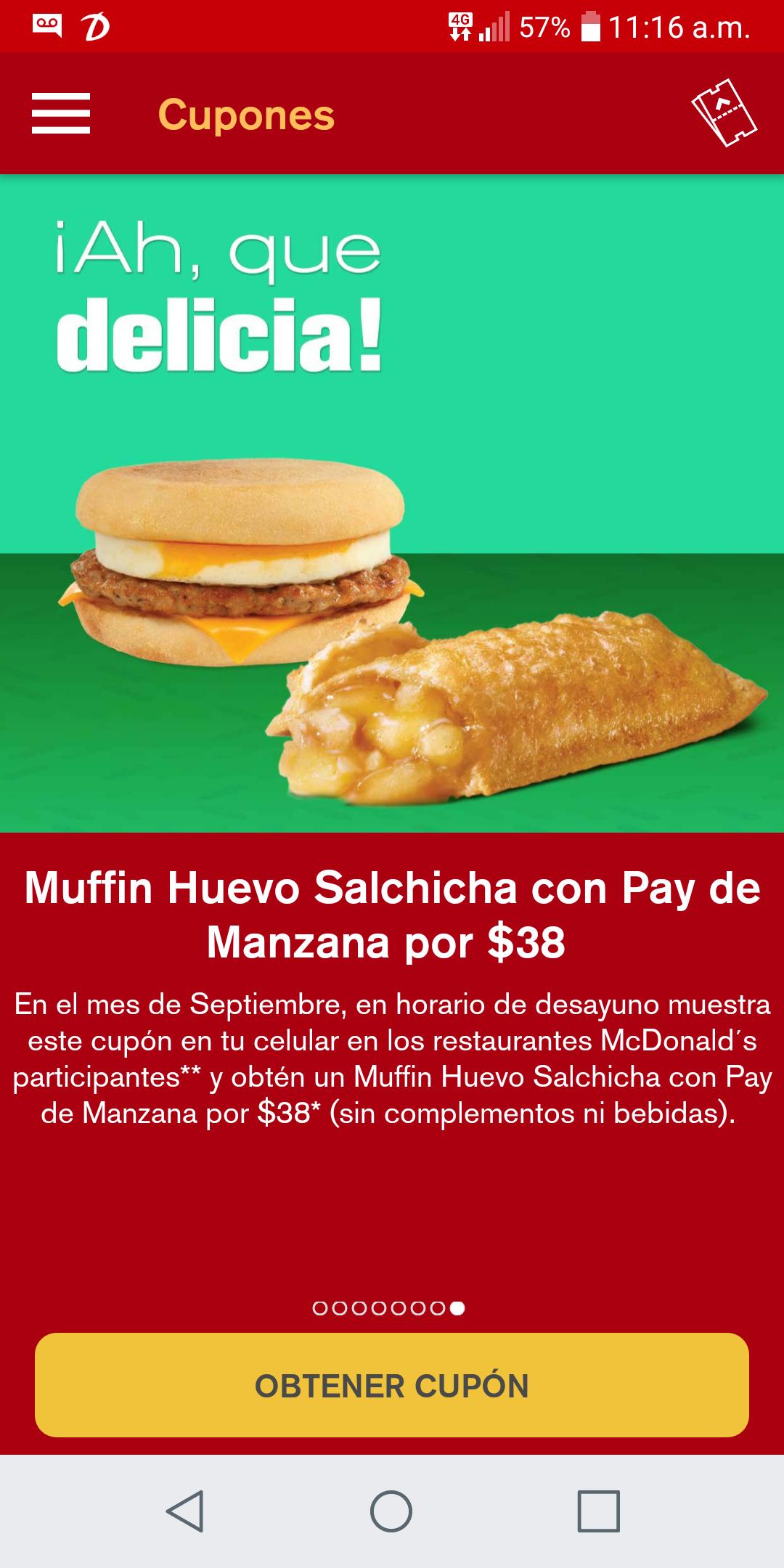 Mc Donald's app: Muffin Huevo Salchicha con pay de manzana