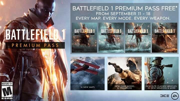 Battlefield 1 Premium Pass Gratis del 11 al 18 de Septiembre