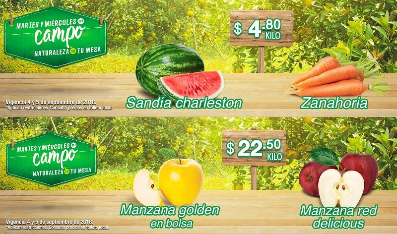 MEGA Soriana: Martes y Miércoles del Campo 4 y 5 Septiembre: Sandía Charleston $4.80 kg... Zanahoria $4.80 kg... Manzana Starking $22.50 kg... Manzana Golden en Bolsa $22.50 kg.