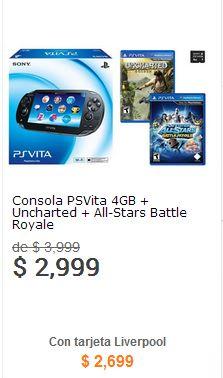 Liverpool: PlayStation Vita con tarjeta de 4GB y dos juegos $2,699