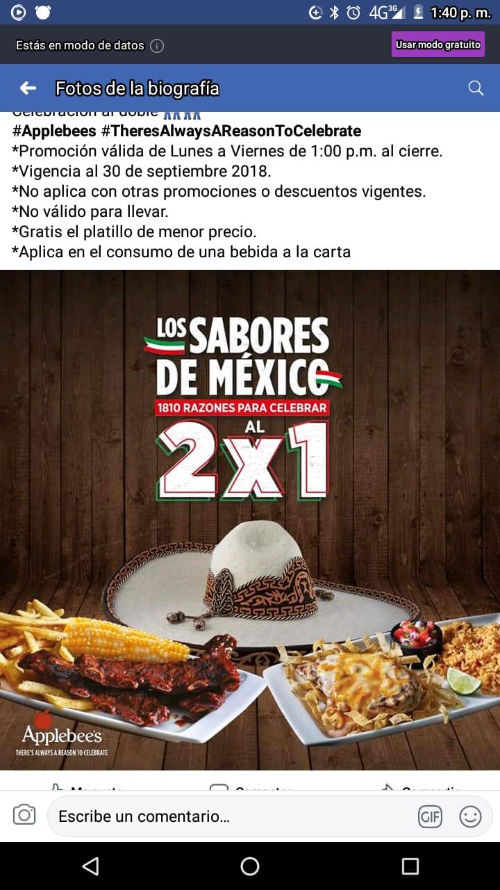 AppleBee's Jalisco: Descuentos  Septiembre 2x1 platillos seleccionados