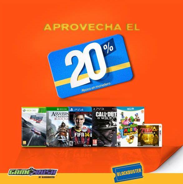 Blockbuster: 20% en monedero en videojuegos y 3x2 en rentas