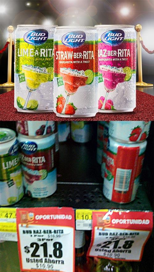 Walmart: (online & tienda) Bud Light Margaritas al 3x2 ($21.80 las 3) sabores Lima, Fresa y Frambuesa
