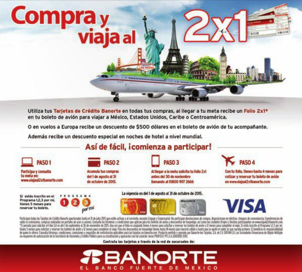 Banorte e IXE: 2x1 en boletos de avión con gasto acumulado mínimo