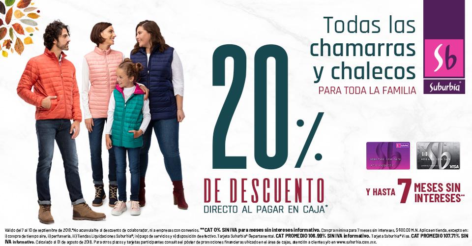 Suburbia: 20% de descuento directo al pagar en cajas en todas las chamarras y chalecos para toda la familia