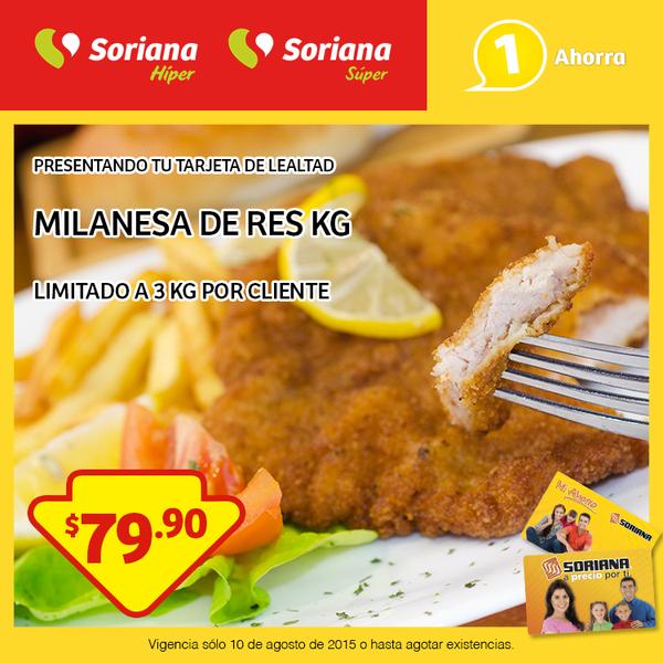 Soriana: Milanesa de Res Kg a $79.90