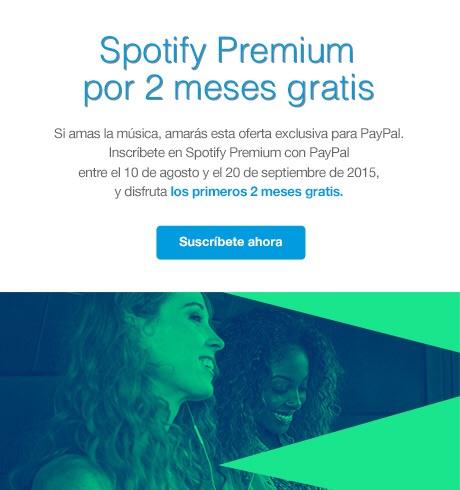 2 meses gratis de Spotify Premium con PayPal