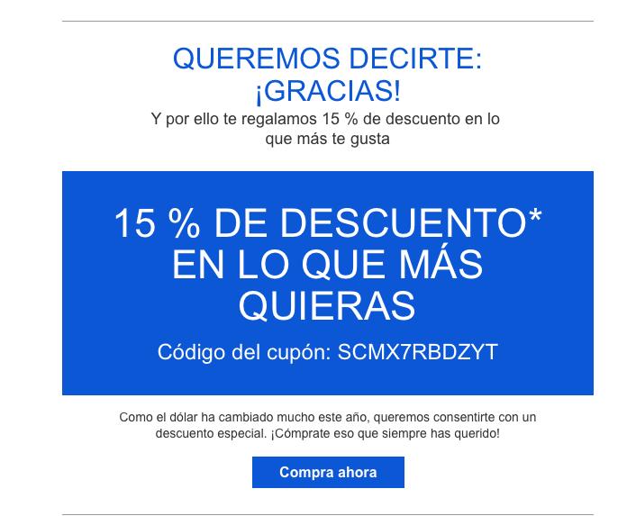 Ebay: Cupón personal de 15% de descuento, mínimo de compra 50 usd (805 pesos) Enviado por correo