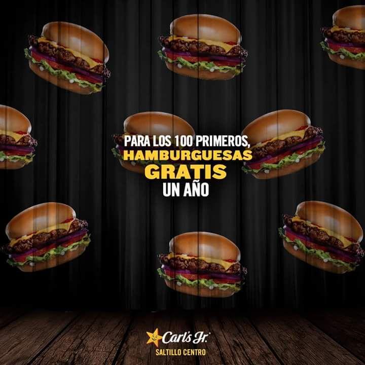 Carl's Jr Saltillo Centro: hamburguesas gratis todo un año a los primeros 100