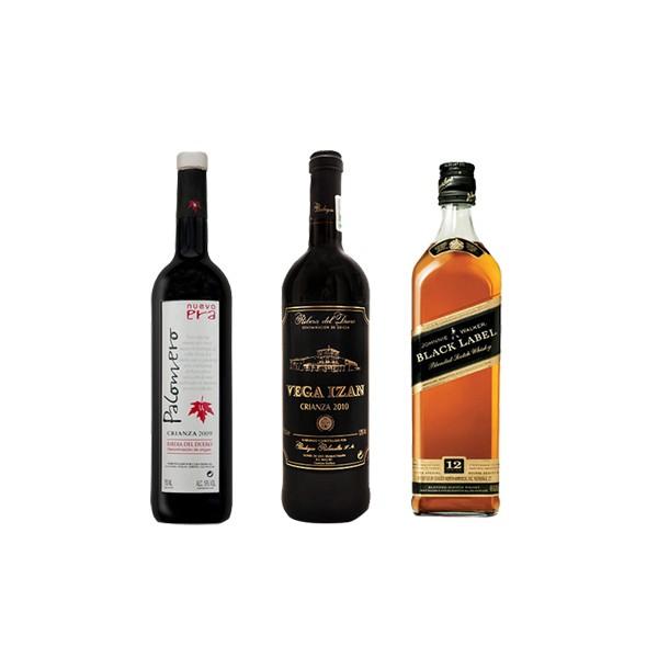 Mequedouno: Jhonnie Walker Black Label+Vino Palomero Nueva Era+Vino Crianza Vega Izán