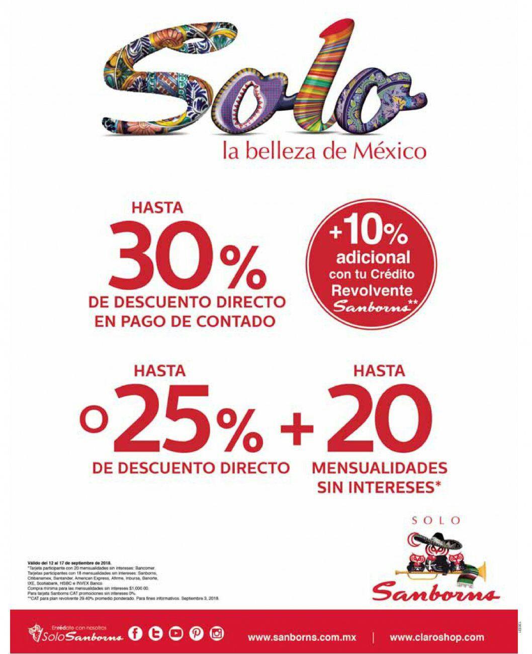 Sanborns: Hasta 30% de descuento directo + 10% adicional con crédito revolvente Sanborns... ó... hasta 25% de descuento directo + hasta 20 MSI