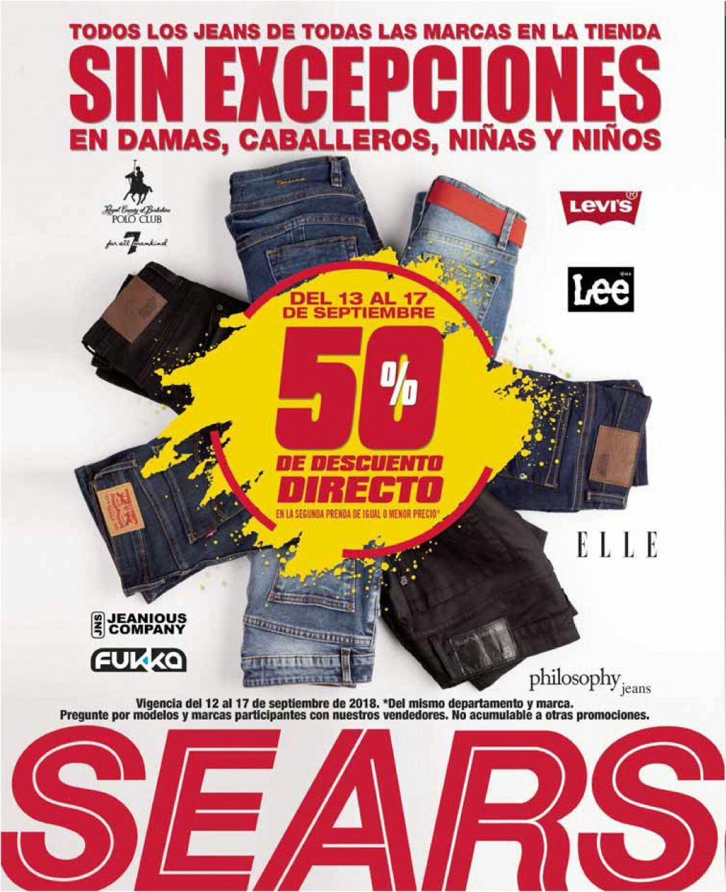 Sears: 50% de descuento en la segunda prenda en todos los jeans de todas las marcas en toda la tienda en damas, caballeros, niñas y niños sin excepciones