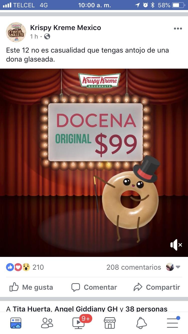 Krispy Kreme: Oferta en donas! $99 la docena