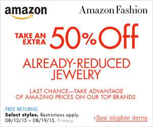 Amazon USA: cupón 50% de descuento extra en joyería rebajada