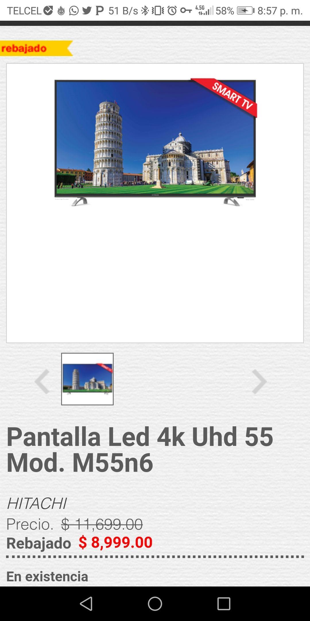 Heb: Pantalla Smart tv 55'' Hitachi