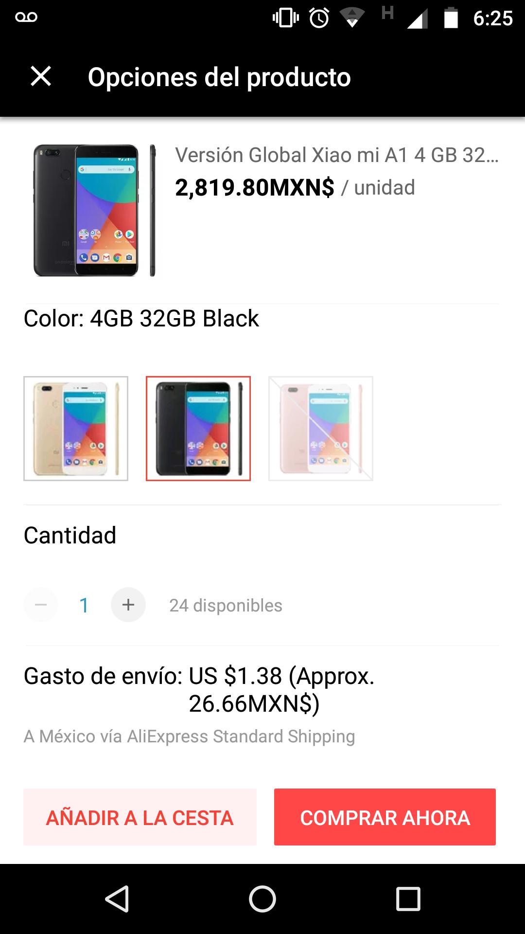Aliexpress: Xiaomi Mi A1 32GB NEGRO
