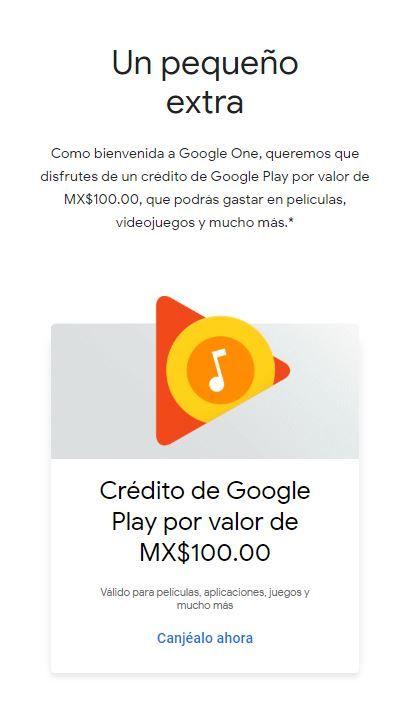 Actualizacion a Google One te da $100 de credito en Google Play Gratis (Usuarios seleccionados)
