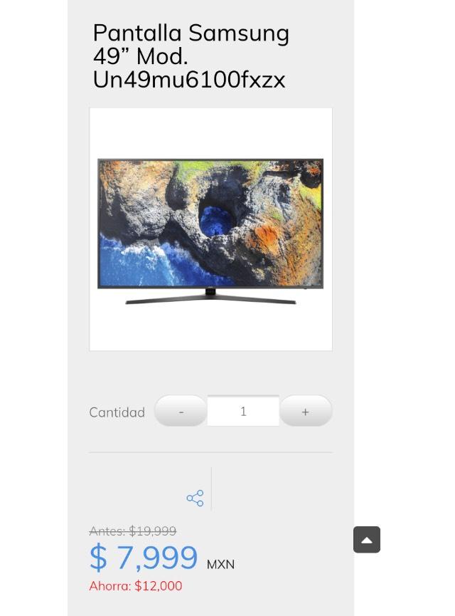 "Sanborns: Pantalla Samsung 49"" Mod. Un49mu6100fxzx"