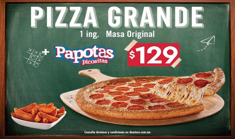 Domino's Pizza App: Pizza grande 1 ingrediente + papotas por $129