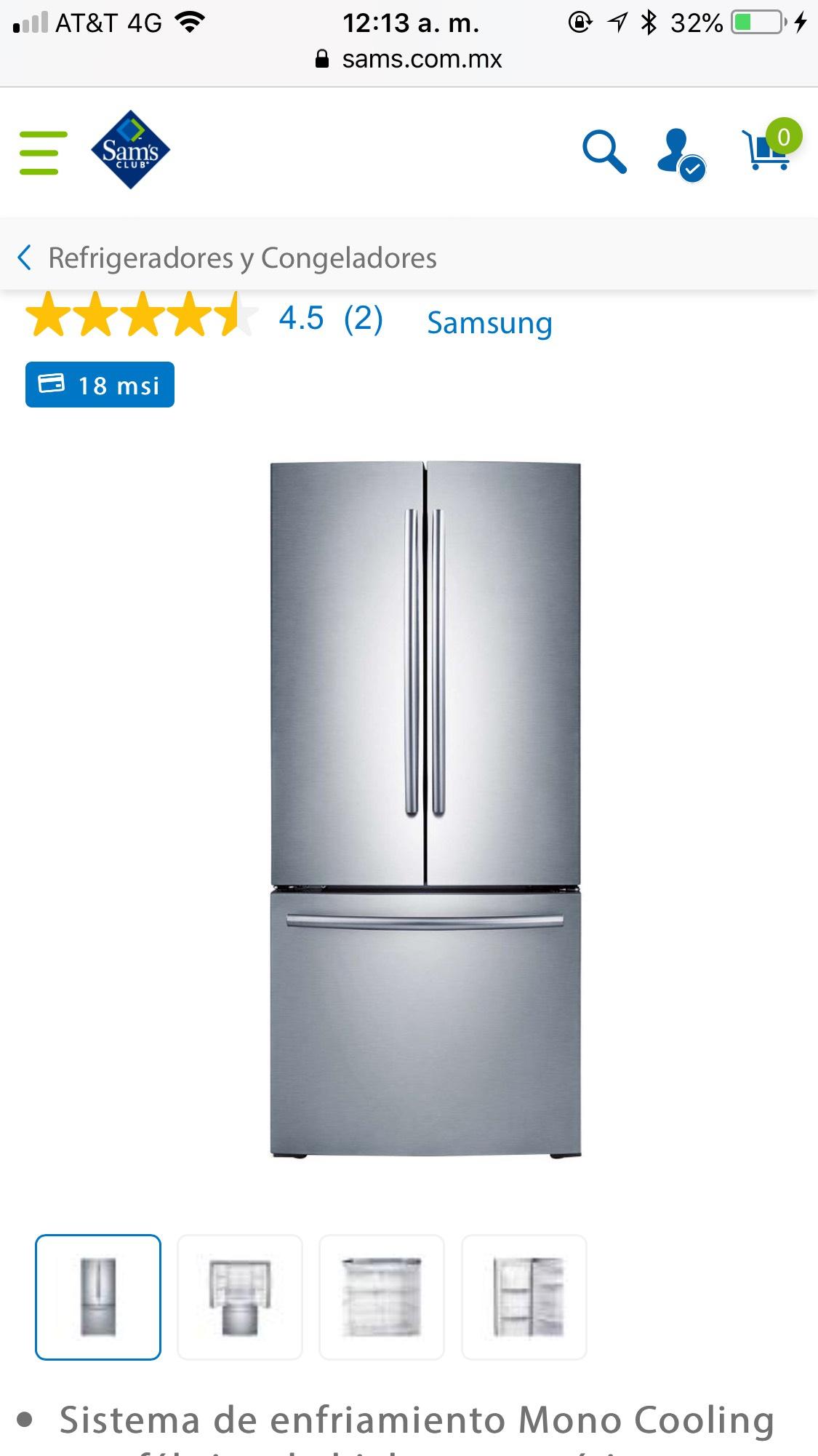 Sam's Club: Refrigerador Samsung French Door 22 Pies Cúbicos