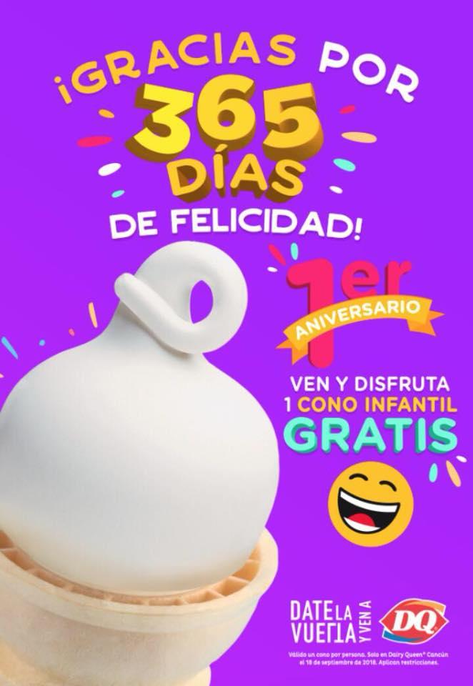 Dairy Queen: Cono Infantil Gratis Sucursal Cancún