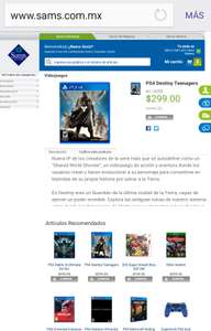 Sam's Club: Destiny para PS4, Xbox One y Xbox 360 a $299